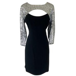 NUE by Shani Cocktail Dress Black Silver Sequin